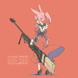 1girl animal_ears anti-materiel_rifle apron belt black_shoes broom fox_ears from_behind full_body gun high_heels looking_back maid maid_apron pas_(paxiti) pink_hair red_background rifle shoes short_ponytail sniper_rifle solo steyr_hs_.50 weapon white_legwear wrist_cuffs