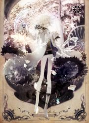 1boy blonde_hair boots candy coat constellation copyright_name cross-laced_footwear full_body fur_trim highres holding lamp long_sleeves looking_at_viewer male_focus molatoliamu muted_color original pants pixiv_fantasia pixiv_fantasia_fallen_kings shawl short_hair sleeves_past_wrists smile solo very_long_sleeves