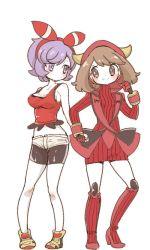 2girls bike_shorts blue_eyes boots breasts brown_hair chorimokki cleavage cosplay costume_switch fake_horns full_body gloves hair_ribbon hand_holding haruka_(pokemon) haruka_(pokemon)_(remake) hood horned_headwear kagari_(pokemon) kagari_(pokemon)_(remake) midriff multiple_girls pokemon pokemon_(game) pokemon_oras purple_eyes purple_hair ribbed_sweater ribbon shirt shoes short_hair shorts sleeveless sleeveless_shirt smile sneakers sweater team_magma two_side_up uniform white_background