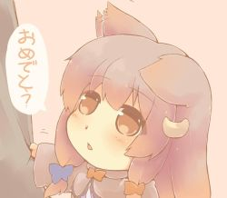 1girl animal_ears blue_ribbon cat_ears chibi commentary_request crescent crescent_hair_ornament hair_ornament hair_ribbon hazuki_ruu kemonomimi_mode long_hair long_sleeves open_mouth patchouli_knowledge purple_hair red_ribbon ribbon shirt_tug touhou translation_request tress_ribbon