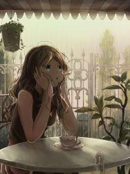 1girl 82_(pixiv10537369) blue_eyes brown_hair cafe cup female fence head_rest long_hair open_mouth plant pleated_skirt pokemon pokemon_(game) pokemon_xy quagsire rain raining red_skirt serena_(pokemon) sitting skirt sleeveless solo table tea teacup tree umbrella