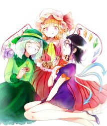 3girls adapted_costume artist_name black_hair blonde_hair blush bow colored_eyelashes cookie diamond_(shape) dress eating eyes_closed flandre_scarlet food frilled_collar frilled_skirt frills green_hair green_skirt happy hat hat_bow highres houjuu_nue komeiji_koishi legs long_skirt long_sleeves mob_cap multicolored_hair multiple_girls nail_polish open_mouth pink_eyes purple_dress purple_nails purple_shoes red_dress ribbon rosette_(roze-ko) shoes short_dress short_hair short_sleeves side_ponytail simple_background single_wing skirt smile striped striped_dress thighs third_eye touhou two-tone_hair white_background wings