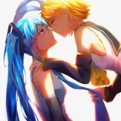 2girls absurdres blonde_hair blue_eyes blue_hair blue_necktie detached_sleeves eyes_closed grey_background hair_ornament hand_on_another's_shoulder hatsune_miku highres ihachisu incipient_kiss kagamine_rin long_hair multiple_girls necktie shirt short_hair simple_background twintails vocaloid white_shirt yuri