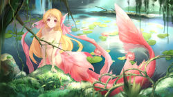 >:o 10s 1girl 2016 :o afloat areola_slip areolae arm_support bangs blonde_hair blurry breasts bzerox collarbone convenient_censoring dated depth_of_field facial_mark flower frog hair_between_eyes head_fins highres jungle lake log long_hair looking_at_viewer lotus medium_breasts mermaid monster_girl moss nature navel nude original partially_submerged pink_flower plant red_eyes rock signature solo stomach surprised tree vines wallpaper water waterfall wet