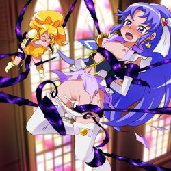 2girls blonde_hair blush boots breasts censored cum cure_fortune cure_honey happinesscharge_precure! highres hikawa_iona long_hair magical_girl mont_blanc_(heartcatch_ayaya) multiple_girls nipples oomori_yuuko open_mouth panties panty_pull ponytail precure purple_eyes purple_hair pussy rape restrained sex skirt small_breasts tears tentacle thighhighs torn_clothes underwear vaginal
