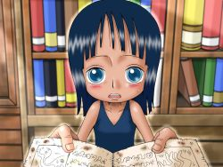1girl blue_eyes blue_hair blush book bookshelf child dress female holding holding_book ichibit looking_at_viewer matching_hair/eyes nico_robin one_piece open_book open_mouth solo standing sweatdrop