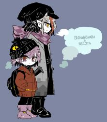 2girls backpack bag belt black_hair boots breath character_name checkered_scarf coat fang_out from_side grey_hair height_difference kijin_seija looking_at_viewer looking_down miracle_mallet multicolored_hair multiple_girls parted_lips pointy_ears profile purple_boots purple_eyes purple_hair purple_scarf red_eyes red_hair scarf simple_background skullcap streaked_hair sukuna_shinmyoumaru symbol-shaped_pupils touhou turtleneck windbreaker winter_clothes winter_coat yt_(wai-tei) zipper