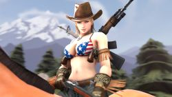 1girl agent4417 american_flag_bikini belt blonde_hair cloud dead_or_alive gloves gun handgun hat horse jeans looking_at_viewer mountain outdoors riding rifle sky solo source_filmmaker tina_armstrong weapon