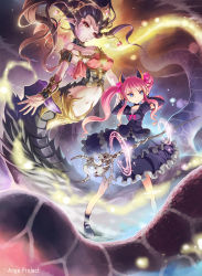 ange_vierge arms_up blue_eyes breasts brown_hair covering_ears detached_sleeves dress hair_ornament highres horns kankurou lamia long_hair magic mary_janes monster monster_girl navel original pink_hair pointy_ears red_eyes ribbon shoes skull staff summoning tiara twintails vambraces weapon