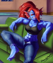 1girl abs asymmetrical_bangs bangs barefoot blue_skin breasts cleavage couch denim eyepatch fingernails hair_over_one_eye head_fins highres jeans joe_shimamura midriff monster_girl muscle muscular_female navel open_fly pants ponytail red_eyes red_hair sharp_fingernails sharp_teeth sharp_toenails signature sitting soles\r\n solo spread_legs tank_top teeth thick_thighs thighs undertale undyne yellow_sclera