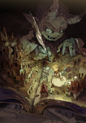 1girl artist_name blonde_hair book braid commentary demizu_posuka fang fangs grin highres muted_color original quill skeleton skull smile steeple