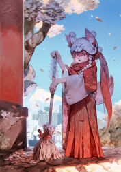 1girl animal_ears animal_hat bamboo_broom blue_sky blush breath broom building city fox_ears fox_hat fox_tail full_body hair_between_eyes hakama hat highres holding_broom japanese_clothes leaf long_hair miko motion_blur mount_fuji open_mouth original outdoors pink_eyes pink_hair pom_pom_(clothes) ponytail red_scarf rope scarf shide shimenawa shrine signature sky solo standing sweeping tail transparent tree very_long_hair wide_sleeves yotsuyu