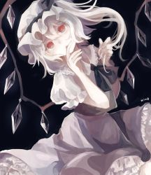 1girl artist_name black_background blonde_hair bow crystal dutch_angle fang finger_to_mouth flandre_scarlet frills hat hat_ribbon looking_at_viewer m8um8u mob_cap open_mouth puffy_sleeves red_eyes ribbon shirt short_hair short_sleeves side_ponytail simple_background skirt skirt_set solo touhou vest wings