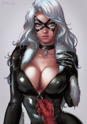 1girl black_cat_(marvel) blue_eyes bodysuit breasts choker cleavage dandon_fuga domino_mask fur_trim highres large_breasts long_hair looking_at_viewer marvel mask mole mole_under_mouth pov shiny shiny_clothes silver_hair simple_background solo_focus spider-man spider-man_(series) unzipping upper_body wavy_hair white_hair zipper