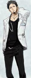 1boy black_shirt blue_hair doctor facial_hair hand_on_head jeans lab_coat male_focus one_piece solo stethoscope trafalgar_law