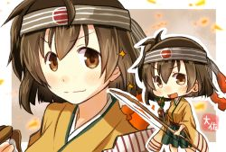 >:) >:d 1girl :d arrow artist_name bow_(weapon) brown_eyes brown_gloves brown_hair chibi gloves green_hakama hair_between_eyes hakama headband hiryuu_(kantai_collection) holding_arrow holding_bow_(weapon) japanese_clothes kantai_collection kimono long_sleeves multiple_views one_side_up open_mouth partly_fingerless_gloves remodel_(kantai_collection) short_hair single_glove smile solo taisa_(kari) weapon wide_sleeves yellow_kimono yugake