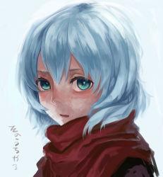1girl aoi01fenrir binbougami_ga! green_eyes sakura_ichiko scarf silver_hair solo