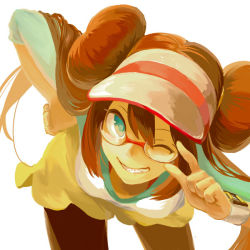 1girl adjusting_glasses bending_forward bespectacled black_legwear blue_eyes brown_hair double_bun glasses grin hand_on_hip legwear_under_shorts long_hair looking_at_viewer mei_(pokemon) one_eye_closed pantyhose pokemon pokemon_(game) pokemon_bw2 raglan_sleeves red-framed_glasses shorts smile solo twintails valen1637 very_long_hair visor_cap watch white_background wristwatch