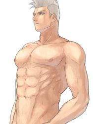 1boy abs bleach blue_eyes male_focus mohawk muguruma_kensei nipples shirtless simple_background solo tattoo ustaminuk white_background white_hair