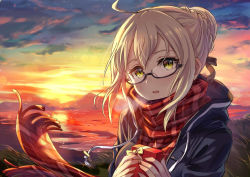 1girl black-framed_eyewear blonde_hair breath fate/grand_order fate_(series) gift glasses heroine_x heroine_x_(alter) holding holding_gift kusano_shinta looking_at_viewer plaid plaid_scarf red_scarf saber scarf school_uniform semi-rimless_glasses solo sunset twilight under-rim_glasses yellow_eyes