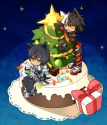 1boy animal_ears black_hair blue_background blush buckle cat_ears character_doll chibi christmas christmas_tree coat di-ort dual_persona elsword expressionless gift kemonomimi_mode male multicolored_hair pants raven_(elsword) shoes solo suzu55 two-tone_hair white_hair yellow_eyes