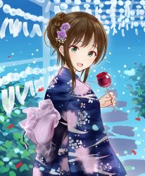 1girl bad_id bad_pixiv_id blue_background blue_kimono brown_hair candy_apple flower food green_eyes hair_flower hair_ornament idolmaster idolmaster_cinderella_girls japanese_clothes kimono long_hair looking_at_viewer looking_back open_mouth outdoors sash shibuya_rin takeya_y0615 tied_hair wide_sleeves wind_chime yukata