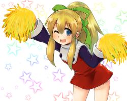 1girl arm_up blonde_hair blue_eyes cheerleader dress leaning_forward long_hair m.m one_eye_closed open_mouth pom_poms ponytail ribbon rockman roll smile solo