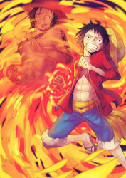 1boy 2boys brothers fighting_stance fire fist ghost long_sleeves memory mino monkey_d_luffy multiple_boys one_piece open_shirt portgas_d_ace red_shirt sash scar siblings stampede_string