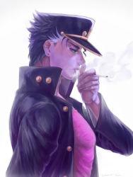 1boy blue_hair cigarette green_eyes hat jojo_no_kimyou_na_bouken kuujou_joutarou profile smoking smskt_25 solo