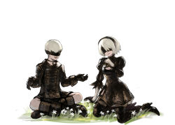 1boy 1girl android blindfold boots breasts choker cleavage cleavage_cutout dress flower gloves grass high_heel_boots high_heels juliet_sleeves kneeling legs_crossed long_sleeves mole mole_under_mouth nier_(series) nier_automata open_mouth patterned_clothing puffy_sleeves quentin_lecuiller short_hair shorts sitting smile thighhighs white_background white_flower white_hair yorha_no._2_type_b yorha_no._9_type_s