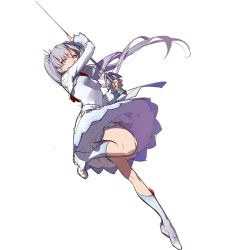 ask_(askzy) blue_eyes boots grey_hair knee_boots long_hair ponytail rapier rwby sketch standing standing_on_one_leg sword toe-point weapon weiss_schnee white_background