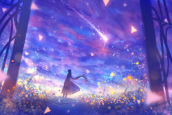 1girl cloud colorful comet dress dutch_angle fantasy from_behind gate grass light_particles long_hair original path road sakimori_(hououbds) scenery silhouette sky solo texture wind