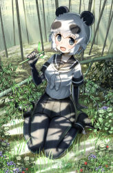1girl animal_ears arm_support ayatarosu bamboo bamboo_forest bangs black_eyes black_gloves black_legwear black_skirt blush boots commentary_request dappled_sunlight day elbow_gloves forest gloves grass highres kemono_friends leaf looking_at_viewer nature neckerchief open_mouth outdoors panda_(kemono_friends) panda_ears pantyhose plant pleated_skirt school_uniform serafuku shade short_hair short_sleeves sitting skirt smile solo sunlight tree tree_shade wariza white_hair