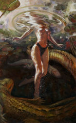 1girl alligator barefoot breasts crocodilian highleg lily_pad mark_harchar navel original partially_submerged ripples solo topless traditional_media underwater