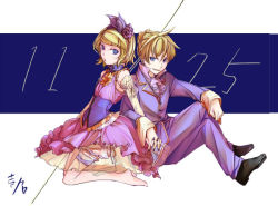 1boy 1girl artist_name blonde_hair blue_eyes brother_and_sister choker colored commentary_request corset cravat dated dress flat_chest flower frilled_dress frills grin hair_flower hair_ornament hair_ribbon hand_holding ichi_ka interlocked_fingers kagamine_len kagamine_rin kneeling ribbon ribbon_choker rose shoes short_hair siblings signature sitting smile twins vest vocaloid