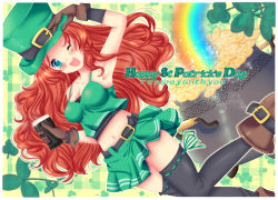 1girl ;) alcohol armpits artist_name beer belt black_legwear blue_eyes breasts brown_gloves cauldron coin crop_top dutch_angle freckles gloves guinness_(beer) hat highres leprechaun long_hair midriff miniskirt navel one_eye_closed original red_hair runawaywithyou saint_patrick's_day skirt smile solo spaghetti_strap strap_gap thighhighs top_hat