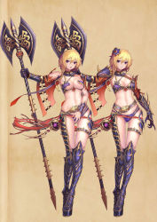 1girl armor asymmetrical_clothes bikini_armor blonde_hair blush covering detached_collar gluteal_fold highres looking_at_viewer navel parted_lips poleaxe purple_eyes senteiou short_hair spaulders thigh_strap vambraces