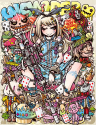 1girl =3 alice_(wonderland) alice_in_wonderland arm_strap bangs blue_eyes blunt_bangs bottle bracelet brooch bullet_hole bunny card chains cheshire_cat cuffs dress facial_tattoo fangs fish frilled_dress frills frog gun hair_ornament hair_ribbon hairclip hat highres jewelry light_brown_hair looking_at_viewer mad_hatter mask mushroom one_eye_closed original pig playing_card project.c.k. queen_of_hearts ribbon ring screw shoes sitting spread_legs stuffed_animal stuffed_bunny stuffed_toy submachine_gun tattoo top_hat watch weapon