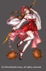 1girl animal_ears bare_shoulders bow company_name flower full_body grey_background gyakushuu_no_fantasica hair_flower hair_ornament high_heels japanese_clothes low_ponytail official_art open_mouth pig pink_eyes polearm ryuki@maguro-ex simple_background solo spear teeth thighhighs weapon