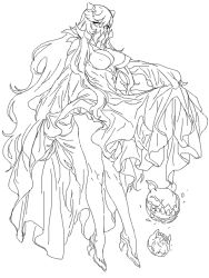 1girl breasts cleavage cosmic_bear covered_mouth dress dress_lift eyelashes from_side high_heels horns kantai_collection legs long_hair long_legs looking_at_viewer midway_hime shinkaisei-kan simple_background sketch solo teeth very_long_hair white_background