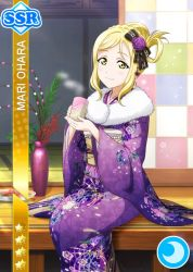 blonde_hair blush character_name food kimono love_live!_school_idol_festival love_live!_sunshine!! new_year ohara_mari short_hair smile yellow_eyes