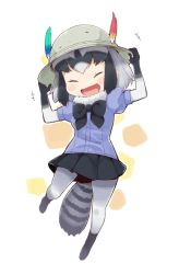 1girl ^_^ ^o^ animal_ears black_bow black_bowtie black_hair black_shirt blush_stickers bow bowtie denchuubou eyes_closed full_body fur_collar gradient_hair green_hair hand_on_headwear happy hat hat_feather kemono_friends multicolored_hair open_mouth pantyhose pleated_skirt puffy_short_sleeves puffy_sleeves raccoon_(kemono_friends) raccoon_ears raccoon_tail shirt short_hair short_sleeves simple_background skirt smile solo tail two-tone_hair white_background