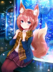 1girl animal_ears aquarium blue_eyes blue_jacket blush brown_scarf chromatic_aberration closed_mouth collared_shirt dress_shirt eyebrows eyebrows_visible_through_hair fox_ears fox_tail frown hair_between_eyes highres indoors jacket jellyfish legs_together lens_flare light_particles looking_at_viewer open_clothes open_jacket original pantyhose pleated_skirt purple_legwear purple_skirt red_hair reflection scarf school_of_fish sea_turtle shirt short_hair sitting skirt solo striped striped_scarf sukemyon tail turtle w_arms white_shirt