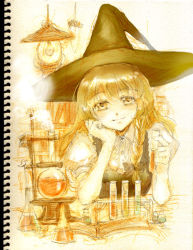 1girl blonde_hair boiling book bookshelf braid chemicals chemistry chemistry_set collared_shirt female hand_on_own_cheek hat keiko_(mitakarawa) kirisame_marisa lamp looking_at_viewer open_book photo puffy_short_sleeves puffy_sleeves short_sleeves single_braid sitting sketch smile solo steam table touhou vial witch_hat yellow_eyes