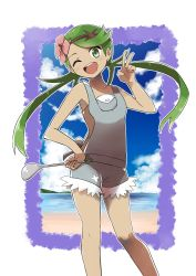 1girl :d ;d bangs bare_arms bare_shoulders beach blue_sky blush breasts cloud cloudy_sky collarbone dark_skin day floating_hair flower green_eyes green_hair hair_flower hair_ornament hand_on_hip headband highres holding ladle long_hair looking_at_viewer mao_(pokemon) naga_(naga54321) ocean one_eye_closed open_mouth outline overalls parted_bangs pokemon pokemon_(game) pokemon_sm pouch shirt shorts sky small_breasts smile solo standing strapless suspenders teeth tongue trial_captain twintails undershirt v white_shirt