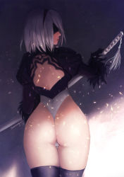 1girl 2017 absurdres artist_name ass back back_opening black_boots black_dress black_gloves black_hairband black_legwear black_shirt boots breasts closed_mouth crop_top dated dress from_behind gloves hairband highleg highleg_leotard highres holding holding_sword holding_weapon juliet_sleeves katana legs_together leotard light_particles long_sleeves looking_at_viewer looking_back nier_(series) nier_automata nose open-back_dress pink_lips profile puffy_sleeves ribbed_dress ribbed_shirt shirt short_hair shoulder_blades shounen_girl silver_hair skin_tight small_breasts solo standing sword thigh_boots thigh_gap thighhighs thighs thong thong_leotard turtleneck twisted_neck vambraces weapon wedgie white_leotard yorha_no._2_type_b