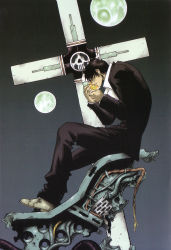 1boy black_hair cross formal male nicholas_d_wolfwood priest short_hair sitting smoking solo suit tagme trigun
