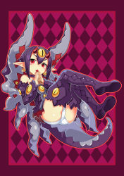 1girl absurdres bell bell_earrings blush_stickers boots choker desco_(disgaea) detached_sleeves disgaea earrings eating fang food highres horns jewelry jingle_bell kikimi looking_at_viewer makai_senki_disgaea_4 monster_girl oni_horns open_mouth panties pointy_ears purple_hair red_eyes solo taiyaki thigh_boots thighhighs underwear wagashi white_panties