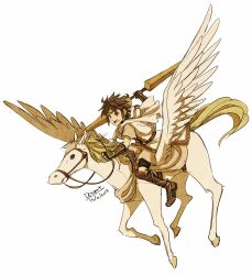 1boy absurdres adapted_costume artist_name bike_shorts blue_eyes company_connection dated dc9spot diadem fire_emblem flying full_body highres kid_icarus kid_icarus_uprising male_focus nintendo open_mouth parody pegasus pegasus_knight pit_(kid_icarus) riding round_teeth serious short_hair simple_background spiked_hair teeth tunic twin_blades white_background wings