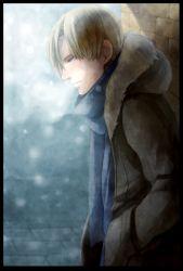 1boy blonde_hair breath fur_coat hood leon_s_kennedy male resident_evil resident_evil_4 scarf shion_(ajisionn) snowing solo